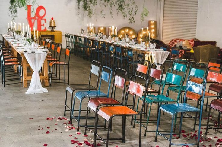 Industrial Wedding Venue | Coloured Chairs and Marquee Lights | 7 Incredible Warehouse Wedding Venues