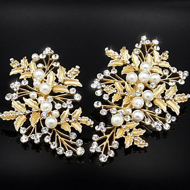Golden Olive leaves with Pearl Crystal Barrette for Wedding Hair Jewelry(2 pcs/set) 4701152 2017 – $9.99