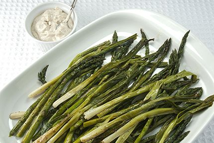 Roasted Asparagus and Scallions with Mustard Cream Sauce | And Winter ...