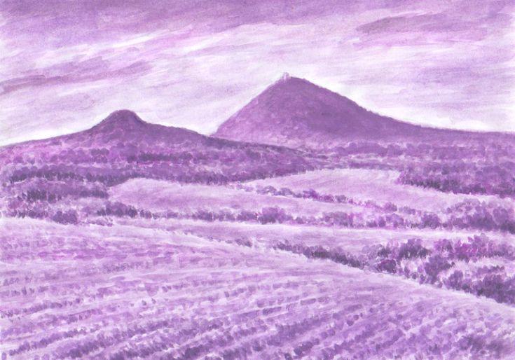 Ostrý a Milešovka, tertier volcanic landscape České středohoří, northern Bohemia, watercolor by Jana Haasová