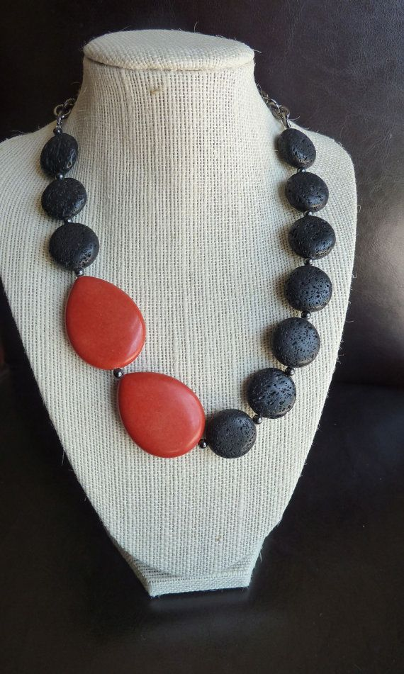 Coral and black lava bead necklace by terrygoddard on Etsy, $31.00