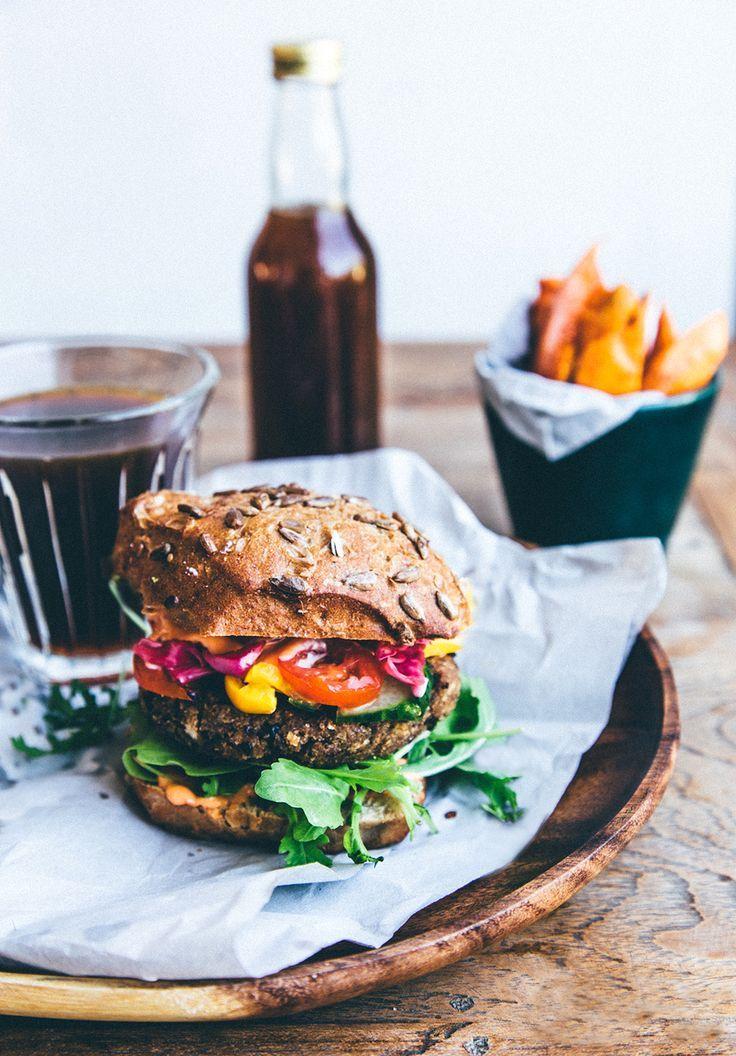 A happy Meal - Veggie burger, sweet potato fries and Kombucha!