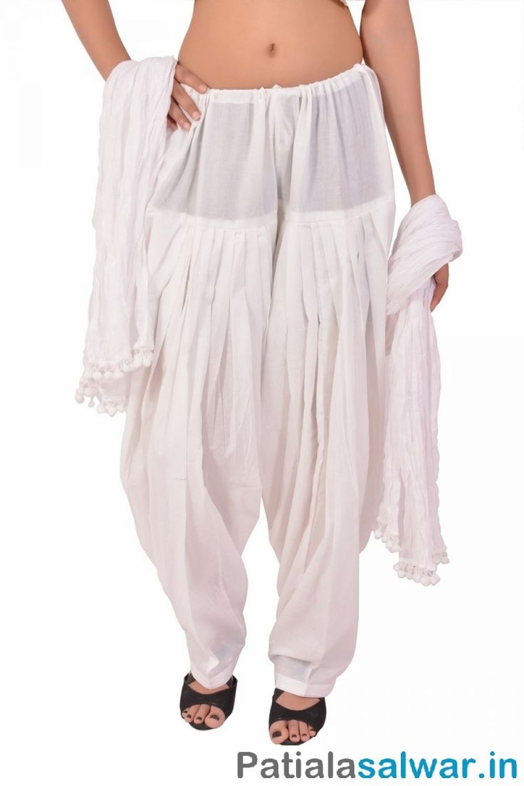 Find here the Cotton White Patiala Salwar with Dupatta and excellent stitching Wear it to college, office or just slip at night in Patiala Salwar.in