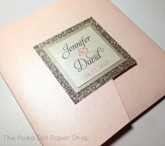 Glitter Wedding Invitation / pocketfold invitation / gold wedding invitation / blush pink invitation/ with No-Transfer Glitter Backing.