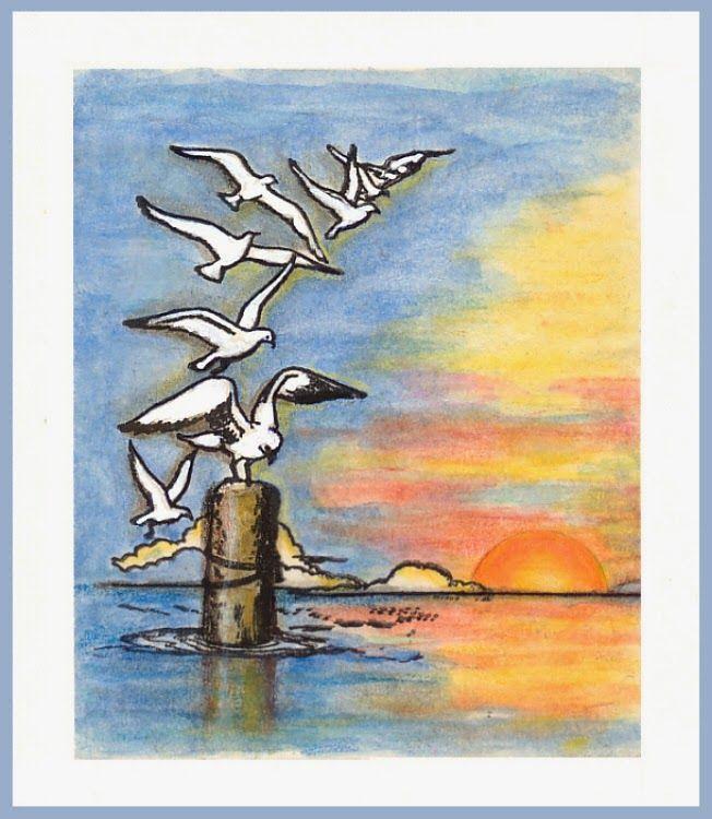 "anjas-artefaktotum: Flight of Seagulls with stamp from Katzelkraft for TMC Theme: ""Song, Lyrics, Poem"""