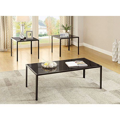 """Features: Finish Color: Black Contemporary Glass and Metal Occasional Set Specifications: Product Weight: 56 lbs Coffee Table Dimensions: 16.00"""" H x 44.00"""" W x 21.75"""" D End Table Dimensions: 21.75"""" H x 21.75"""" W x 21.75"""" D ProfitSlacker Upgrade 2 coming soonVideo... more details available at https://furniture.bestselleroutlets.com/living-room-furniture/tables/living-room-table-sets/product-review-for-coaster-3-piece-coffee-table-set-in-antique-pew"""