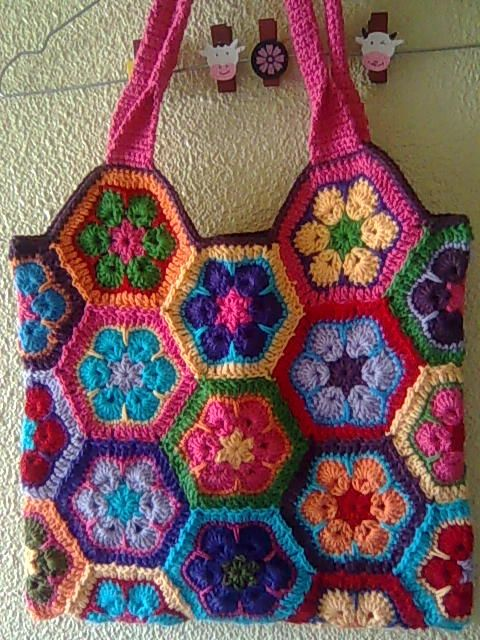 Crochet Hexagon Bag : crochet hexagon bag Crochet Purses, Totes and bags Pinterest