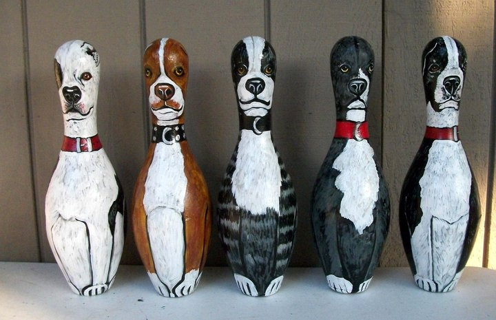 SHORTY'S PIT BULL BOWLING PINS in the home of Shorty Rossi by Dawn Tarr