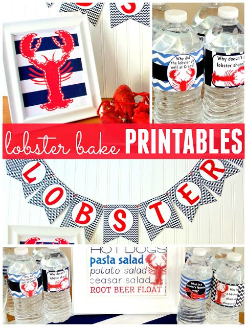Lobster Bake party printables - banner, print, water bottle labels, napkins The Ultimate Pinterest Party, Week 57