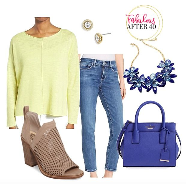 Yellow Pullover Sweater with jeans for spring.