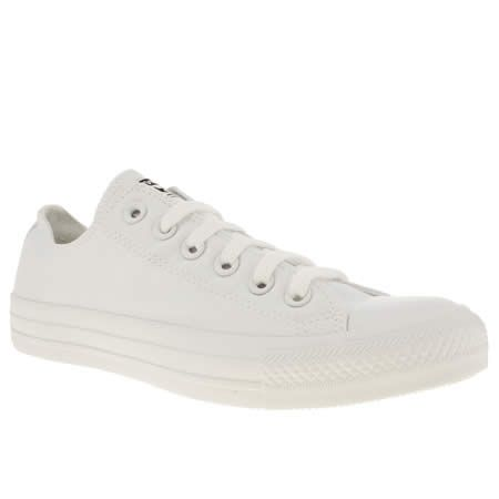 The Converse All Star Ox is looking pretty all-white these days. The Mono features the classic plimsoll silhouette created with a breathable white canvas upper sat on a rubber sole with toe cap. Branding on the heel and tongue finishes.