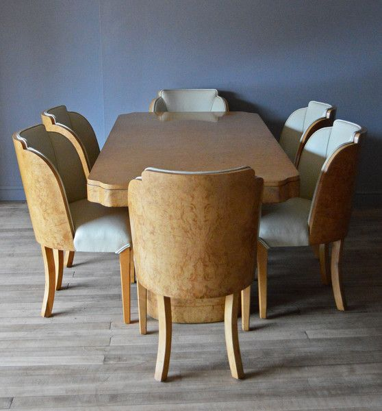 "Art Deco Burr Walnut Dining Table & Chairs Ca1930 England. Table = 10""H x 72""W x 36""D."