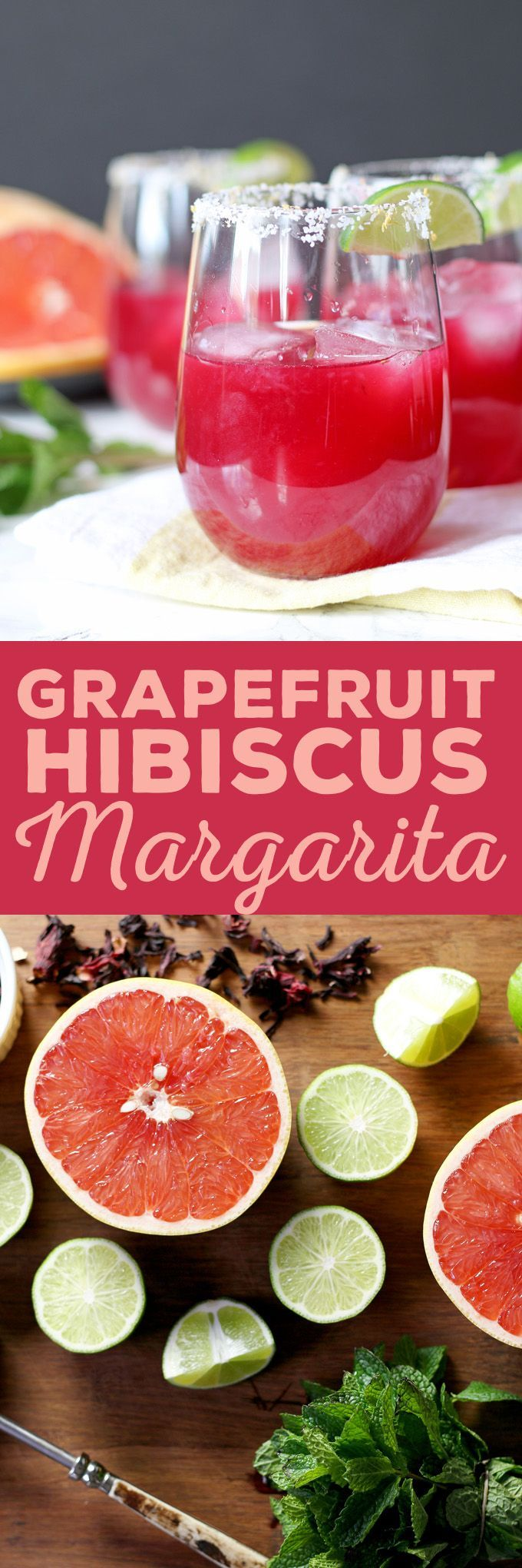 Grapefruit Hibiscus Margarita - Fresh grapefruit and lime juice, homemade hibiscus simple syrup and a little muddled mint make this a fun and tropical cocktail!