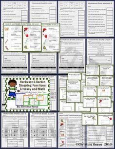 Have students working on life skills? Check out this hardware store set of activities for money, functional literacy, check writing, cash, and debit card use set up at different levels for different levels of skills. $3.50