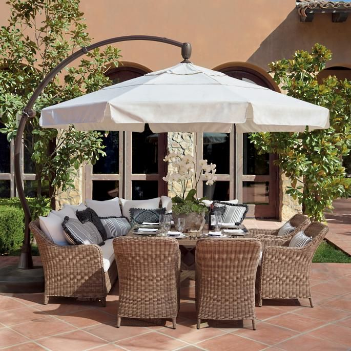 11 Cantilever Round Side Mount Umbrella Frontgate Backyard Patio Patio Decor Patio