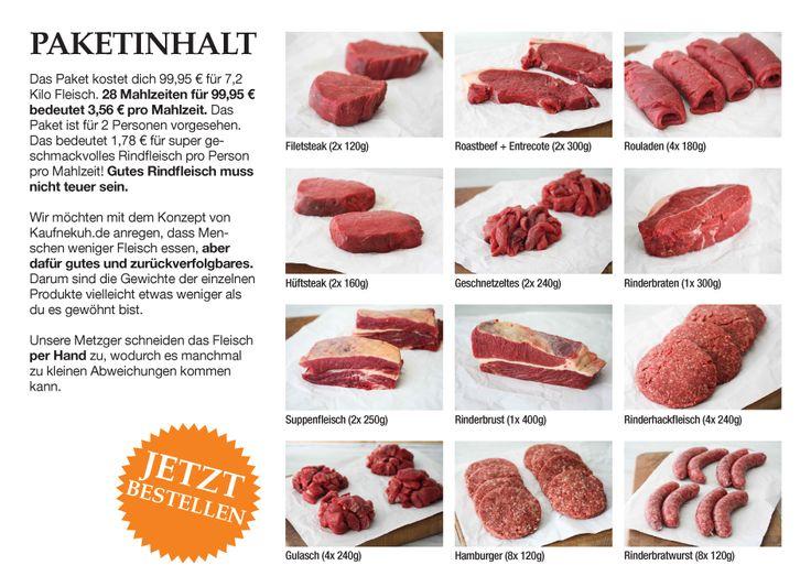 Unser Fleischpaket enthält Filetsteaks, Hüftsteaks, Entrecotes, Geschnetzeltes, Rouladen, Gulasch, Rinderbraten, Rinderbrust, Suppenfleisch, Hamburger, Gehacktes & Rinderbratwürste.