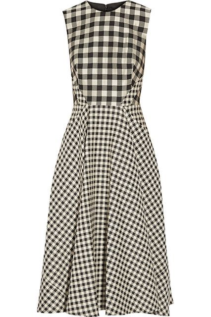 """What New York's Most Stylish Are Buying This Fall #refinery29  http://www.refinery29.com/new-york-fashionista-shopping-guide#slide-12  Lela Rosa Gingham Jacquard Midi Dress""""I love that [Lela Rose] mixes up the check pattern by adding another dimension to a fun classic.""""..."""