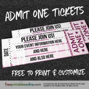 Drip Drop Admit One Ticket Template