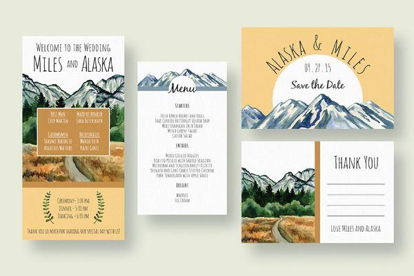 Mountain Wedding Invitation Suite - Invitations - 2