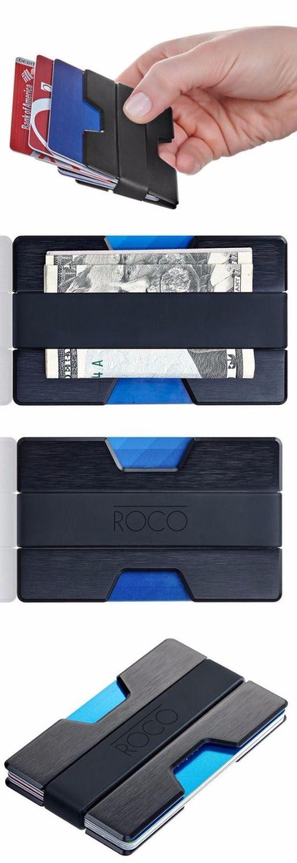 ROCO EDC Minimalist Aluminum Slim Wallet RFID BLOCKING Money Clip - Everyday Carry Gear