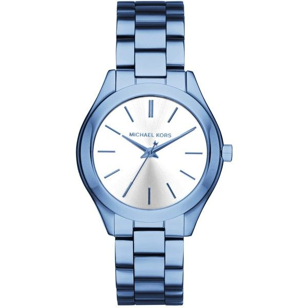 MICHAEL Michael Kors Women's Blue Bracelet Watch ($100) ❤ liked on Polyvore featuring jewelry, watches, blue, watch bracelet, blue dial watches, water resistant watches, blue jewellery and stainless steel jewellery