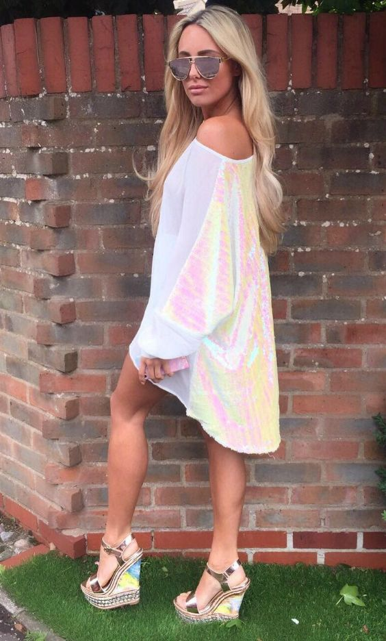 "The Only Way Is Essex babe Amber Turner looking gorgeous in the SilkFred ""Sequin Back Alexandra Dress""...Celebrity, TOWIE Style, Marbella outfits, Pool Party Outfit"