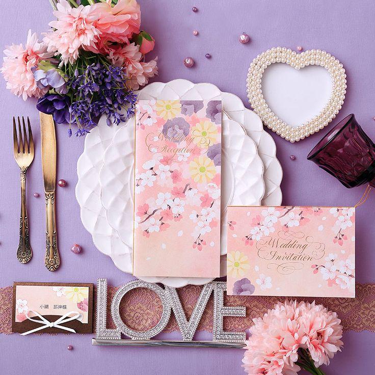 ピンク パープル イエロー のラブリーなプランタン(春) 席次表 ♡結婚式のかわいいパステル調の席次表まとめ一覧♡
