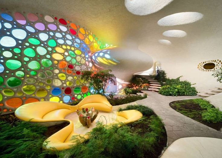 indoor garden with amazingly awesome glass bubble wall thing!!! yeah!!