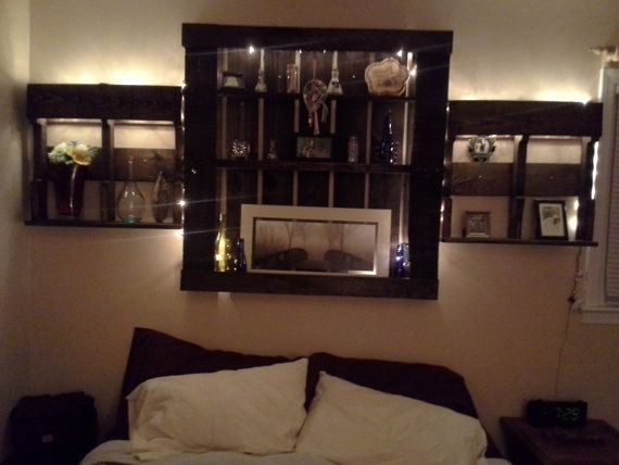 7 best images about bedroom ideas on pinterest shelves for Pallet headboard with shelves