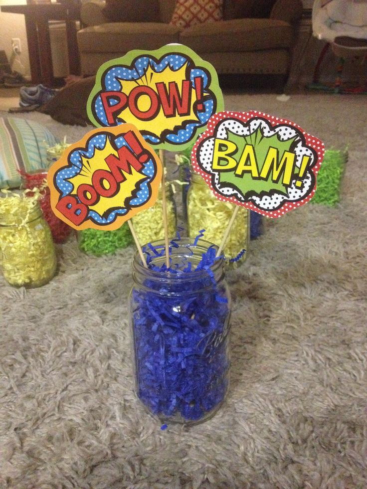 Super simple superhero party centerpieces