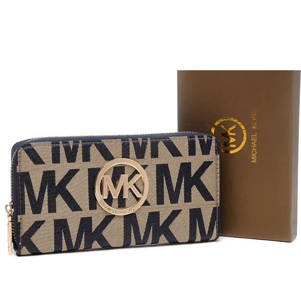 Michael Kors Jet Set Continental Logo Large Beige Wallet