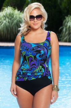 Women's Plus Size Swimwear - Longitude Magic Kingdom Sash Tank One Piece Swimsuit