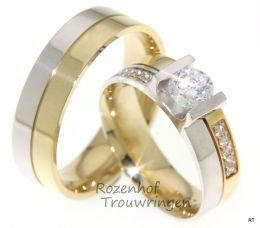 Diamant trouwringen.Deze tweekleurige ringen  zijn gemaakt van glanzend geelgoud en witgoud. De damesring is spectaculair afgezet met 11 briljant geslepen diamanten.  Rozenhof trouwringen  www.rozenhoftrouwringen.nl