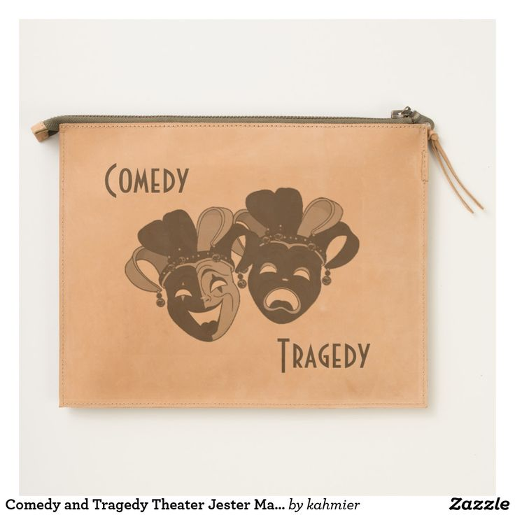 Comedy and Tragedy Theater Jester Masks Silver Travel Pouch