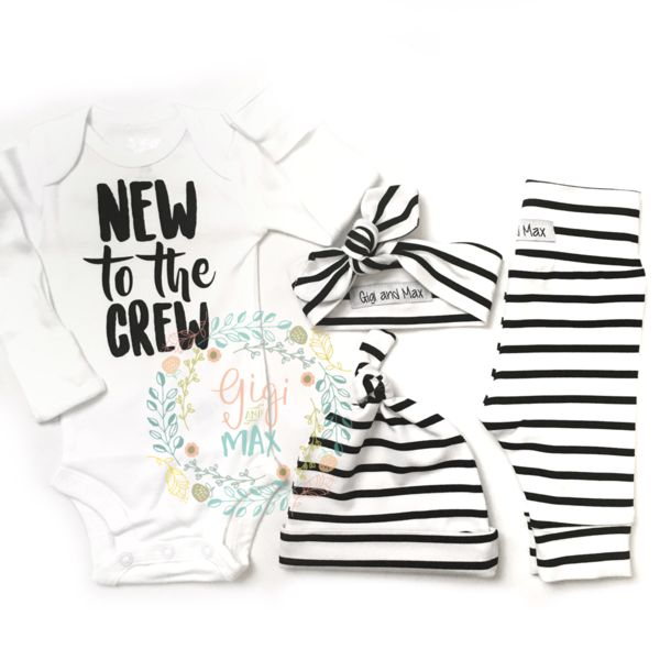 "Hi there! Welcome to Gigi and Max! This handmade outfit is beyond perfect for any sweet baby on the way. Pants, knot hat, and headband are made out of a super soft stretchy knit. The onesie professionally heat pressed with our ""new to the crew"" design. This listing is for a Gender Neutral Black and White stripe theme going home set for a little boy OR girl! Leggings and onesie are newborn size. Also included is a newborn matching knot hat AND a newborn headband. Onesie is also available in…"