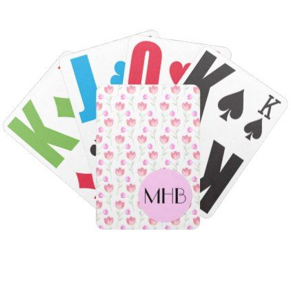 Monogram - Flowers Leaves Plant Stems - Pink Bicycle Playing Cards - white gifts elegant diy gift ideas