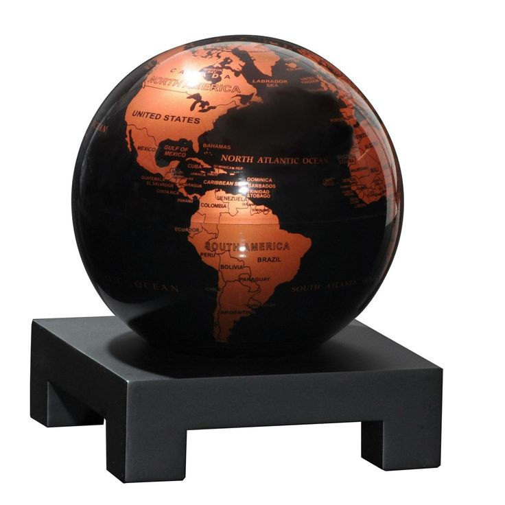 """Black And Copper Globe 4.5"""" W/ Wood Base Globes by Mova  New and stylish copper and black finish. A mesmerizing decorative element, these globes harness solar power and the Earth's magnetic field to slowly rotate in complete silence without any external power. Click image for details #gifts #giftshop #giftideas #vancouver #FathersDay #GiftIdeas #innovative #YVR #Vancity #Men #Gentlemen #movaglobe #globes #desk #accessories #classy #copper #wood #sleek"""