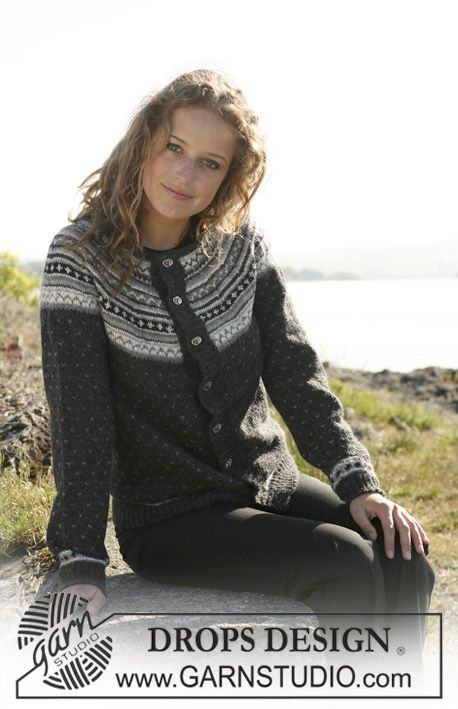 """Knitted DROPS jacket in """"Alpaca"""" with round yoke in multi coloured pattern.  Size S - XXXL. Free pattern by DROPS Design."""