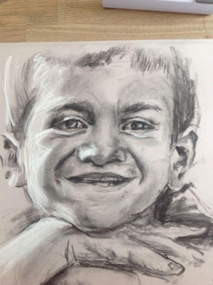 Portret met wit houtskool