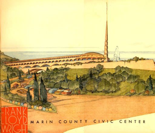 Frank Lloyd Wright's concept for the Marin County (California) Civic Center as it appears on the front cover of the 1962 dedication brochure http://contentdm.marinlibrary.org/cdm/ref/collection/flw/id/0