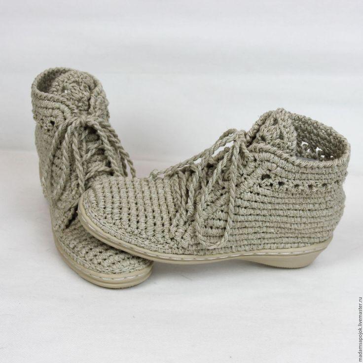 Купить Льняные ботиночки вязаные - бежевый, мокасины, мокасины женские, мокасины вязаные