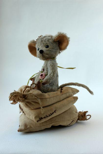 Купить Тедди Мышка Принцесса на горошине - серый, мышка тедди, мишка тедди, мишка-тедди