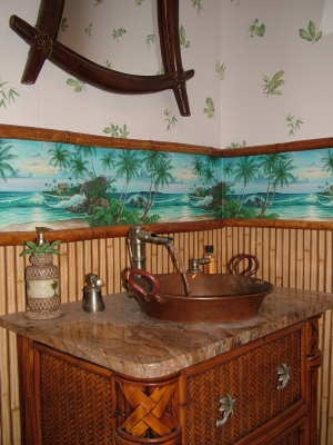 Unique vessel sink with tropical decor!