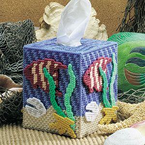 Tropical tissue box holder  Tissue box plastic canvas - Seascape, Ocean wonders