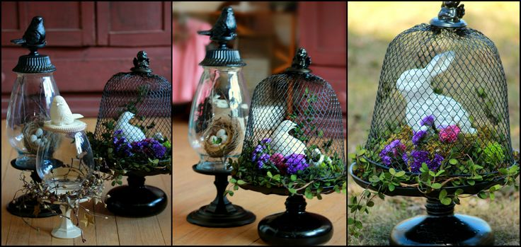 I made these Cloches out of Dollar tree Items and a couple Salvation army finds .. Dollar Tree wire waste basket candle sticks candle trivets  birds  and the top of an angel trinket box ..Salvation Army vases a  plate  and genie bottle for the wire cloche .. glue was E6000... paint was black Krylon