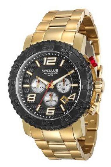 28674GPSVDA1 Relógio Masculino Dourado Seculus Prime   Guest Club