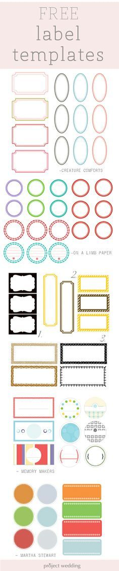 Free label templates for place cards, escort cards, etc.