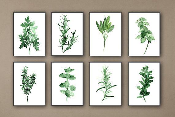 Kitchen Herbs Art Prints Set of 8 Green por ColorWatercolor en Etsy