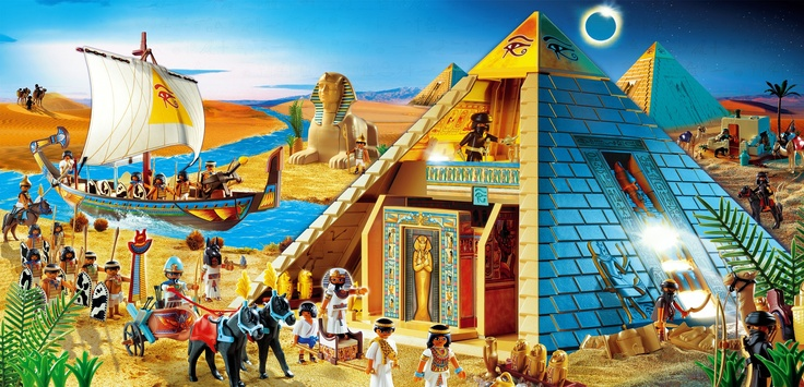 The armies arriving on boat to save the pyramid from the king, while the Sphinx looks on with a cheeky smile - Big toys for big people