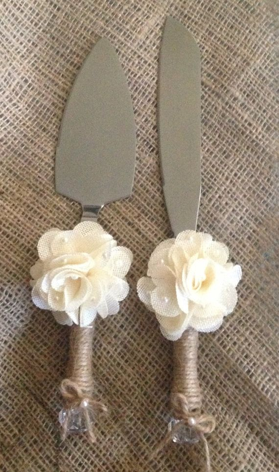 Rustic Wedding Cake Knife and Server by RubyRedBirdCreations, $35.00